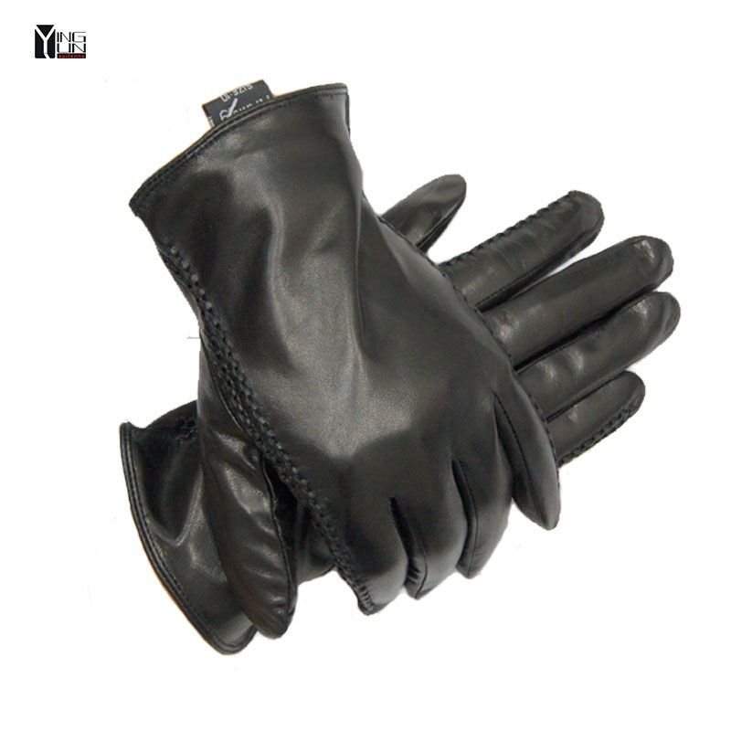 2018 New Winter Arm sleeve man genuine leather gloves male warm goat skin leather gloves black men mittens fleece lining