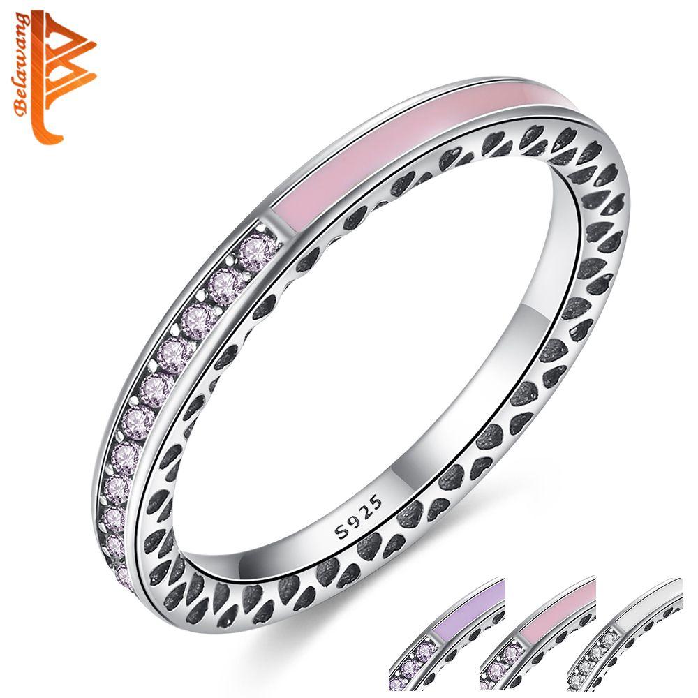 BELAWANG 100% 925 Sterling Silver Radiant Coeurs, Lumière Rose Émail et CZ Cristal Doigt Anneaux pour les Femmes D'origine De Mariage bijoux