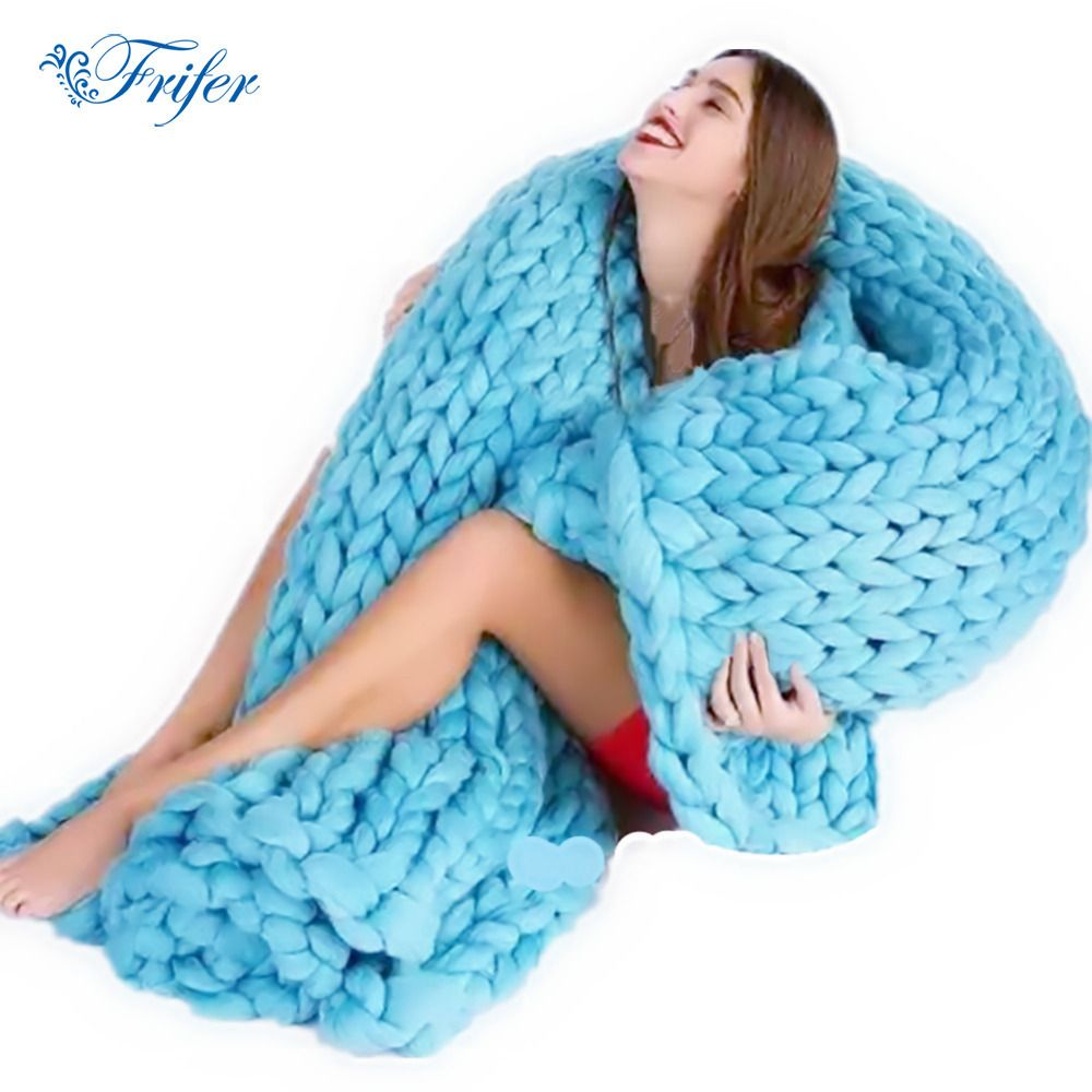 Soft Thick Line Giant Yarn Knitted Blanket Hand Weaving Photography Props Blankets CrochetLlinen Soft Knitting Blankets