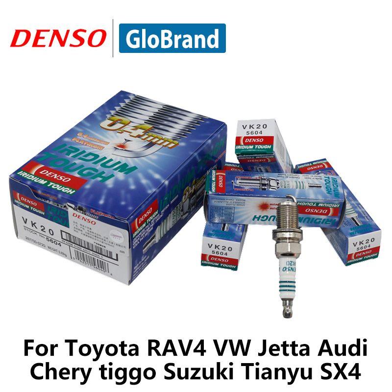 4 шт./компл. DENSO автомобиль свечи зажигания для Toyota RAV4 Geely Fit VW Jetta Audi Chery Tiggo Suzuki Tianyu SX4 VK20 иридий платина