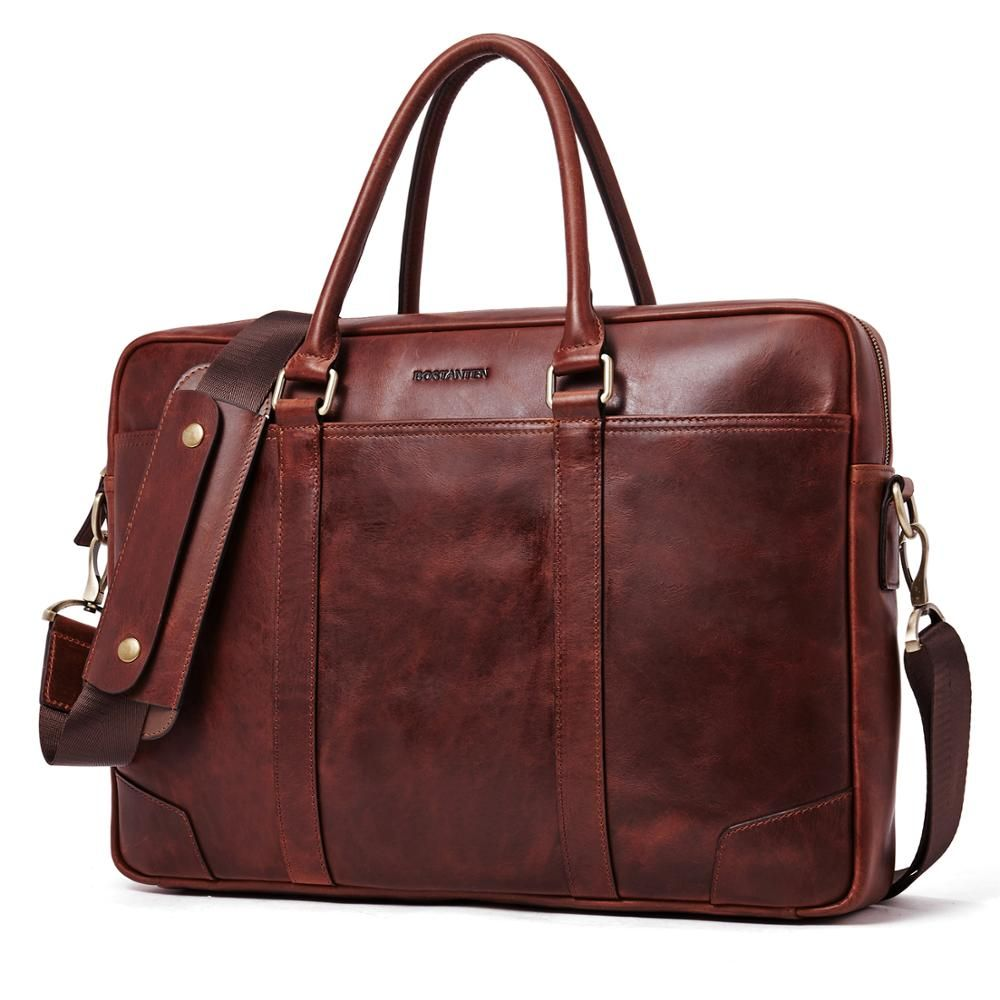 BOSTANTEN Echtem Leder Männer Aktentasche Vintage Messenger Business Taschen 15,6 zoll Laptop Handtasche für Männer Braun