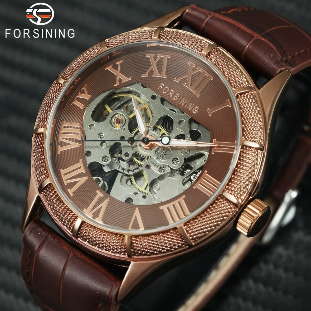 2019 Vintage Watch Men Automatic Mechanical Wrist Watches for Man Luminous Hand Skeleton Oversize Dial Leather Relogio masculino