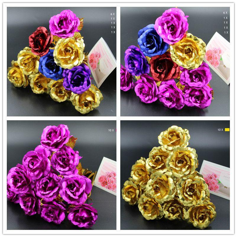 24 k or Rose feuille plaqué or rose décoration de mariage or Rose décor fleur flores artificiales para decoracion
