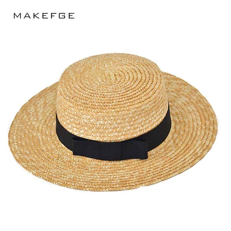 Femme athlète chapeau de soleil 2017 été nouveau mode blé Panama chapeau de soleil plage chapeau ruban nœud nœud style naval chapeau de paille femme casquette