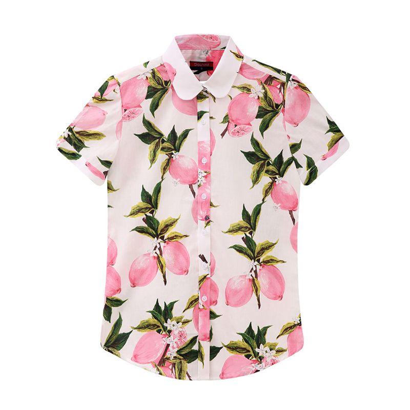 Dioufond Plus La Taille Floral Femmes Blouse D'été Turn-Down Col À Manches Courtes Blouse Shirt Femmes Imprimer Casual Coton Chemises 2018