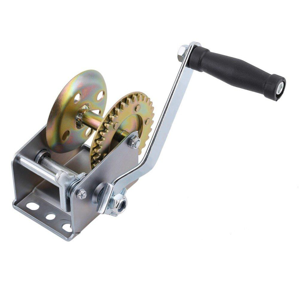 600 lbsHand Winch Capacity Marine Trailer Puller Crank Hand Winch A3 Steel For Boats For Caravan Without Strap Manual Operation