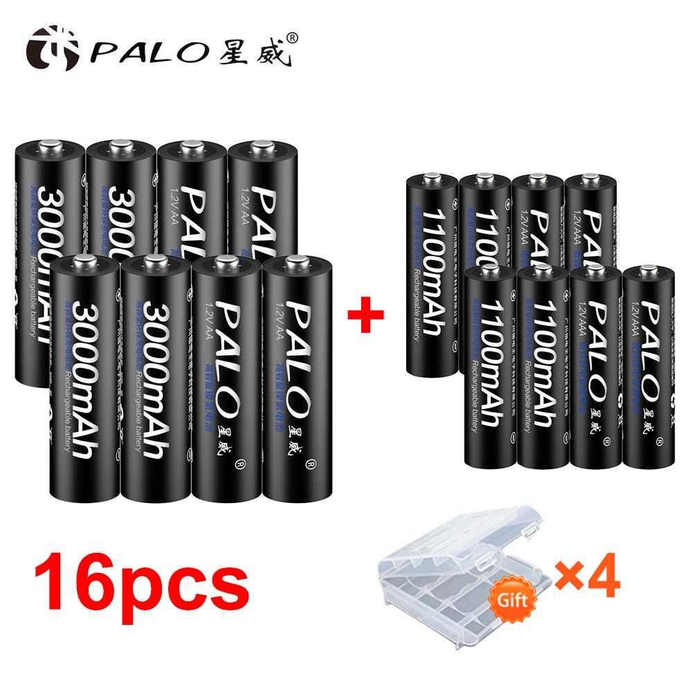 8 pièces PALO 1.2V 3000mAh AA Batterie Rechargeable et 8 pièces 1100mAh Piles Rechargeables AAA Pour La Voiture De Jouets