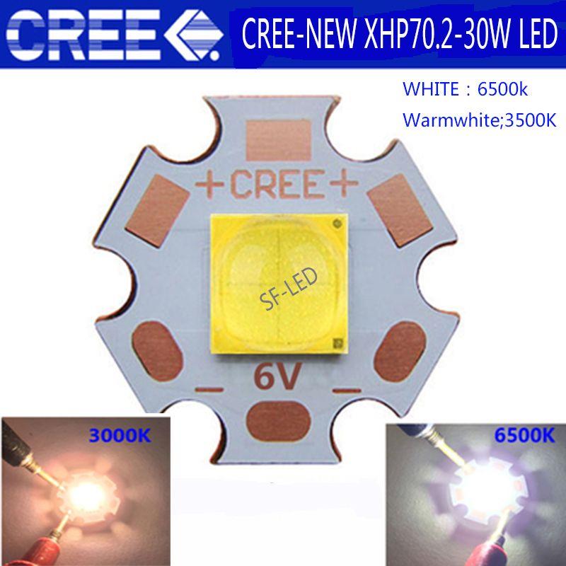1 PCS 2018 Date Haute Puissance Cree XHP70.2 Blanc 6500 K/Blanc Chaud 3500 K LED Émetteur Avec 20mm DTP Cuivre MCPCB