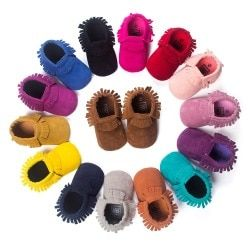 Newborn Baby Boy Girl PU Suede Moccasins Soft Shoes Fringe Soft Soled First Walker