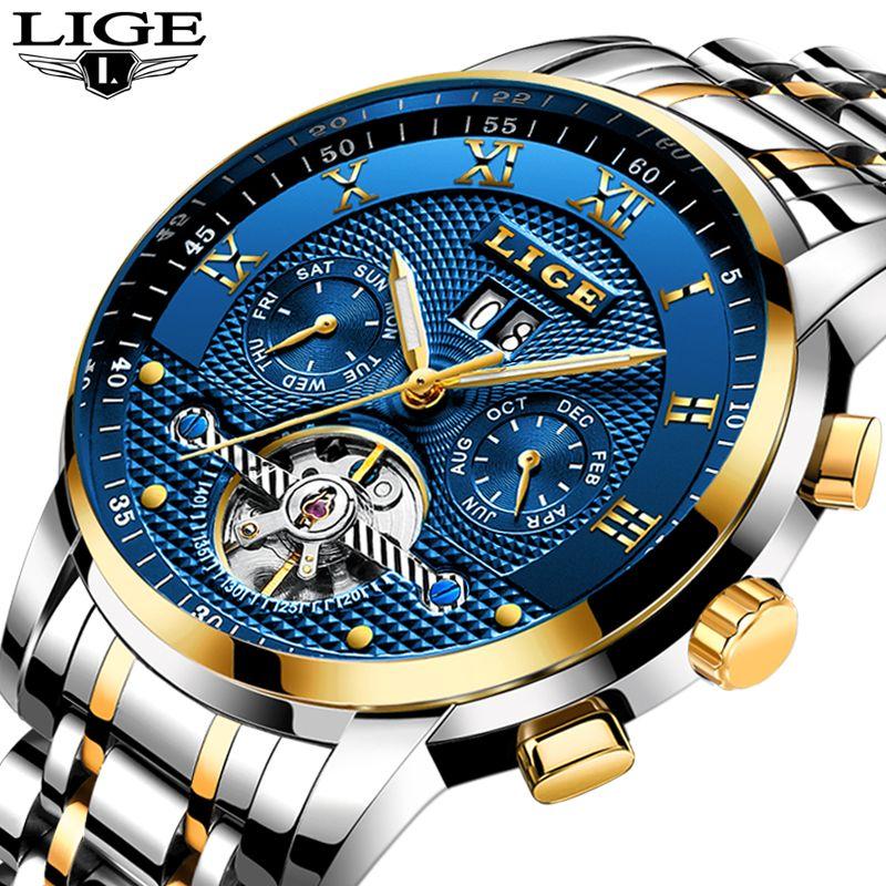 Relogio Masculino LIGE Männer Uhren Top-marke Luxus Automatische Mechanische Uhr Männer Voller Stahl Business Wasserdichte Sport Uhren