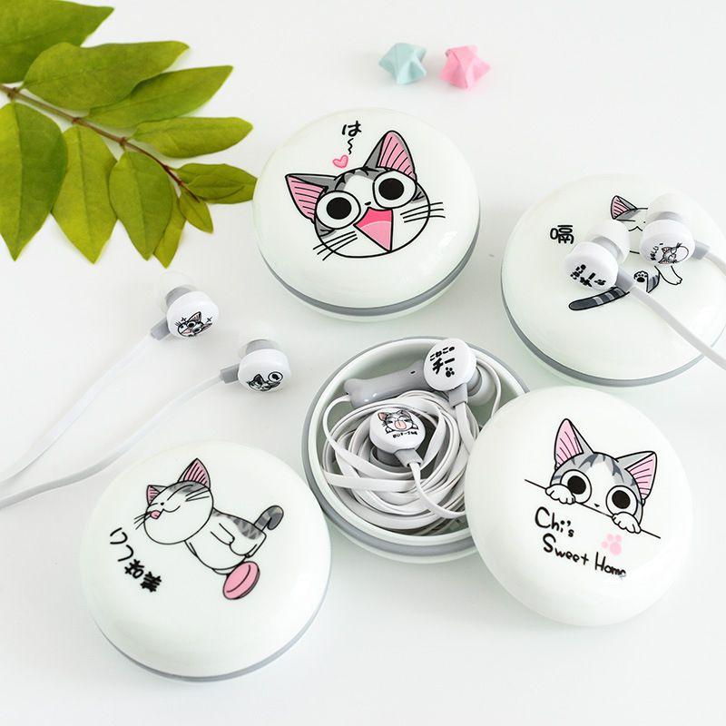 Neue Nette Katze Kopfhörer 3,5mm in-ohr Stereo Kopfhörer mit Mikrofon Kopfhörer Fall Universal-Handy für Mädchen für MP3 geschenk