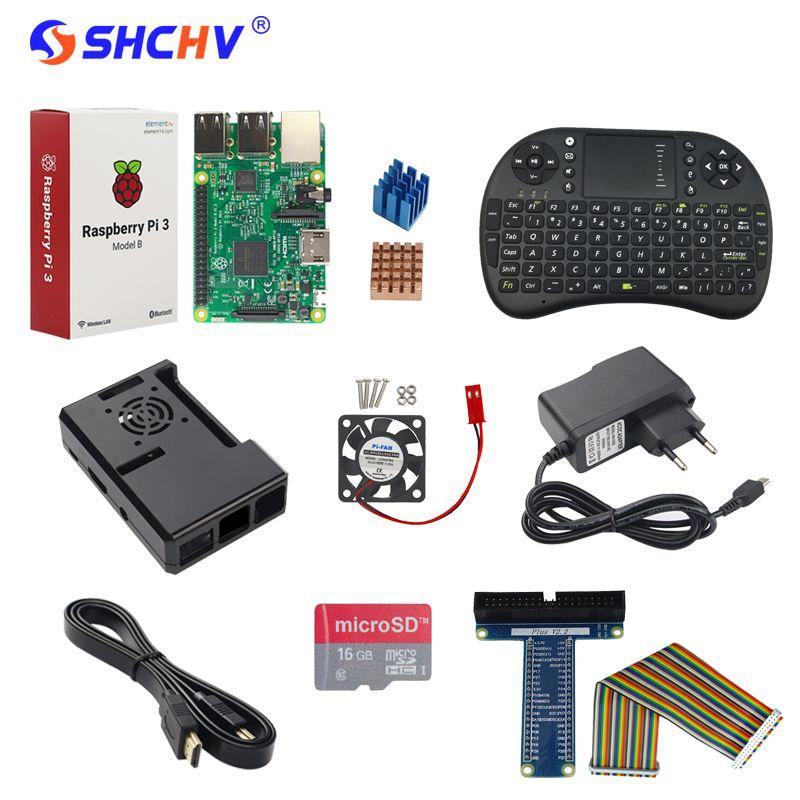 Raspberry Pi 3 Modèle B + Adaptateur + 16G SD Carte + Keybaord + cas + Dissipateur de Chaleur + Câble HDMI + GPIO Câble + GPIO Boaed + Ventilateur pour RPI
