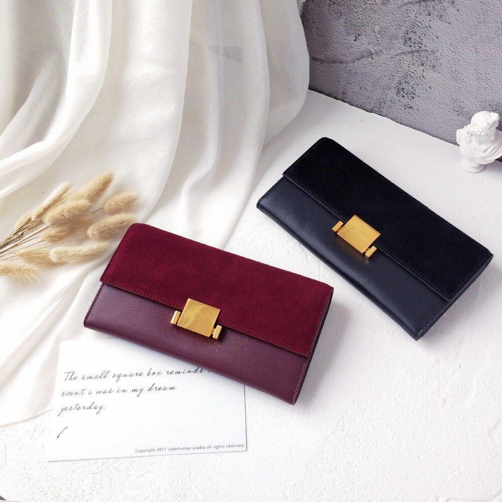 Women Wallets Genuine Leather Nubuck leather Wallet Long Design Clutch Casual Lady Cash Purse Women Hand Bag Carteira Feminina