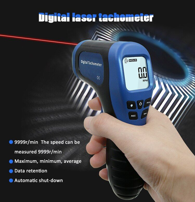 ProfessionTachometer Digital LCD Tachometer Laser Non-Contact Tach Range 2.5-99999RPM Motor Speed Meter with 1pc Reflective Tape