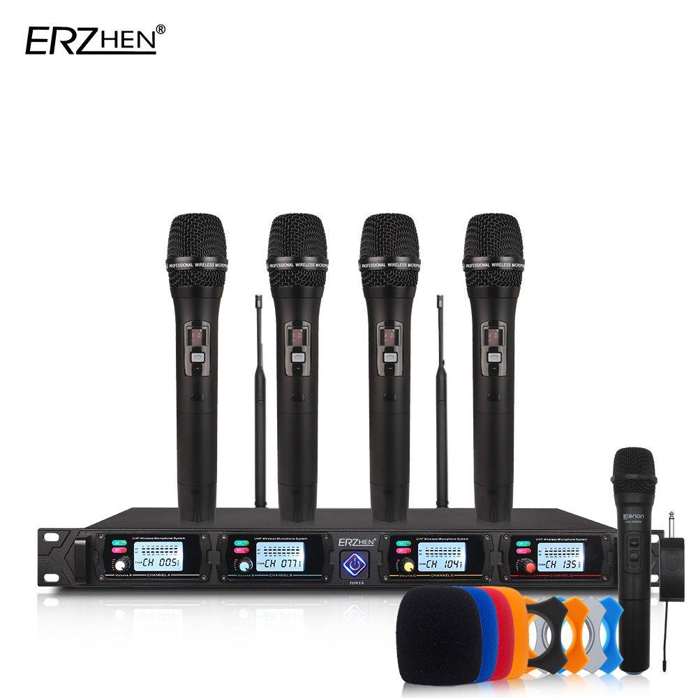 Sans fil microphone système 8000GT professionnel UHF canaux dynamique microphone professionnel 4 karaoké microphone + dernière concep