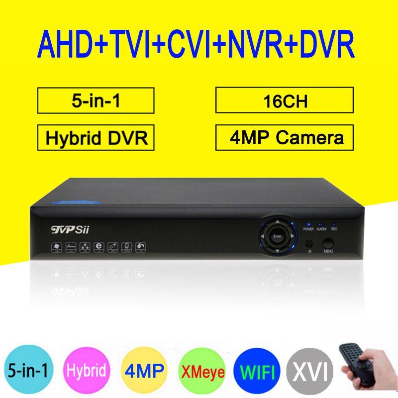 4MP Surveillance Camera Blue-Ray XMeye Hi3531A 16CH 6 in 1 Wifi Hybrid Coaxial Onvif NVR CVI TVi AHD CCTV DVR Free shipping