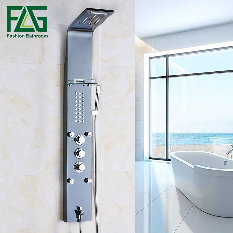 FLG European Thermostatic Shower Panel Oil Rubbed Rain Shower Column Jets Sprayer Bathtub Spout Hand Black Shower Faucet Set