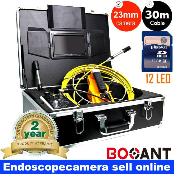 30 meters Aluminum box DVR pipe endoscope camera 23mm camera recorder waterproof industrial pipe snake camera