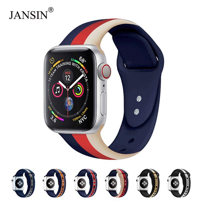 JANSIN Sport bande pour Apple Watch série 4 3 2 1 bracelet Silicone pour iWatch coloré souple remplacement AW adaptateur 38 40 42 44mm