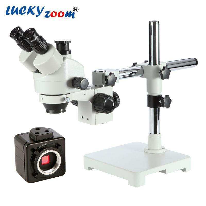 Luckyzoom Brand 7X-45X Single Boom Stand Trinocular Stereo Zoom Microscope 100mm Working Distance W/ 5MP microscopio Camera