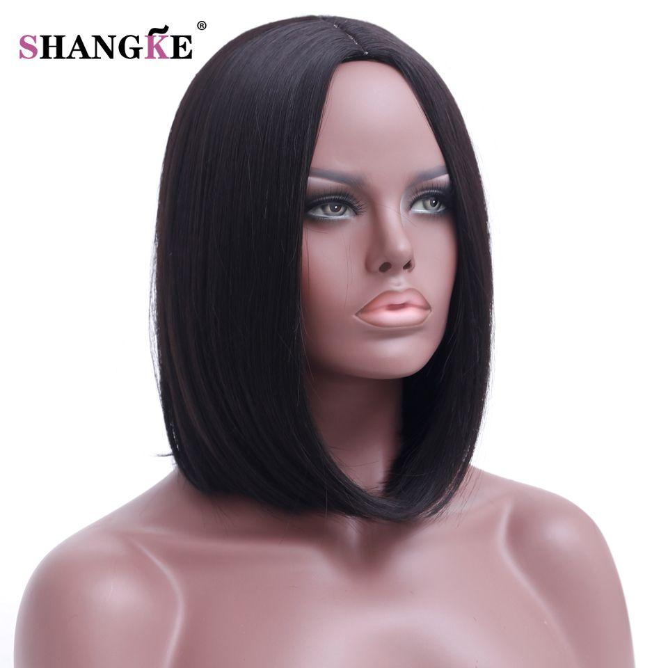 Shangke волосы короткие Боб черный парик Для женщин натуральный Искусственные парики для черный Для женщин термостойкие синтетические волос Б...