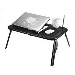 Mesa plegable ajustable portátil soporte de mesa bandeja de vuelta escritorio portátil con USB Ventiladores soporte bandeja