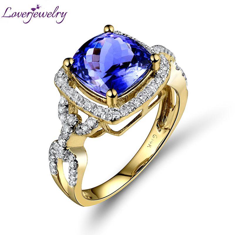 Vintage Solid 14Kt Yellow Gold Diamond Tanzanite Weddding Women's Ring Cushion Cut Gemstone Jewelry G090458
