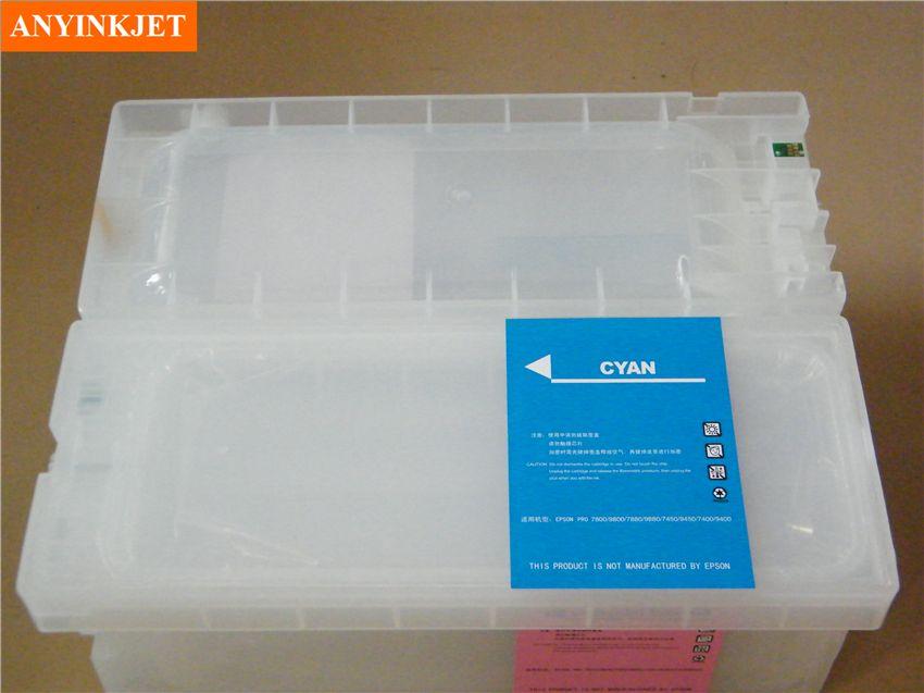 Cartouche rechargeable avec puce avec cartouche resetter pour Stylus pro 7800 7880 9880 (8 pcs cartouche + 1 pcs cartouche resetter)