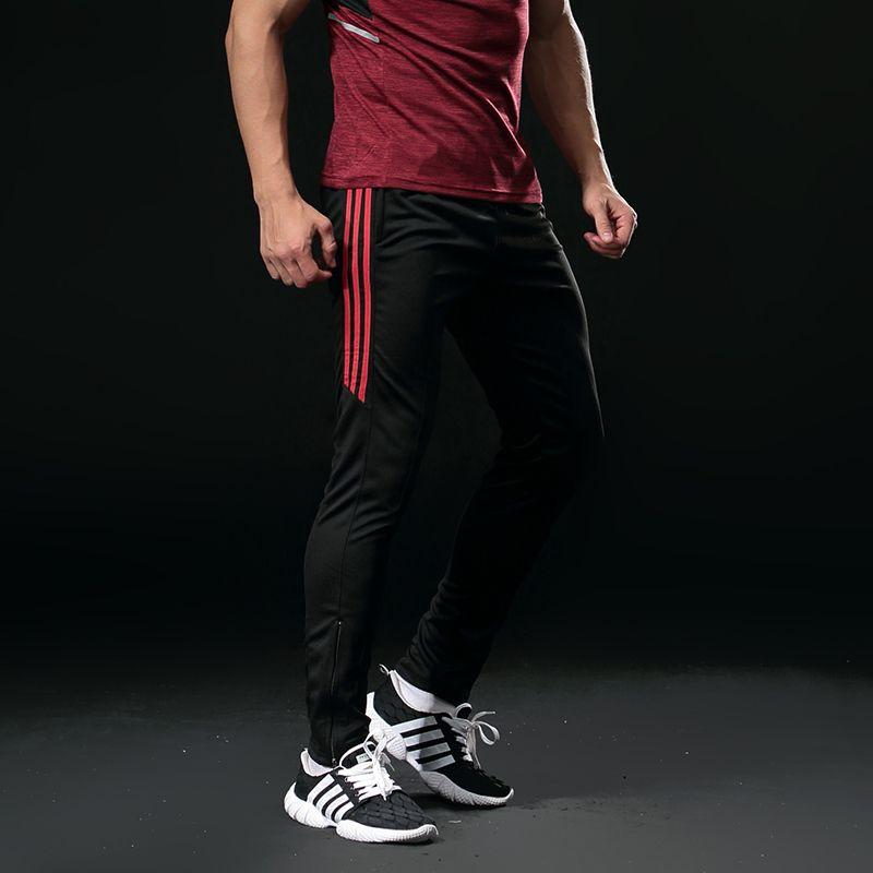 Sport Running Pants Men With Zipper Pockets Pro Football Soccer Training Pants Fitness jogging Elasticity Sport Trousers 318