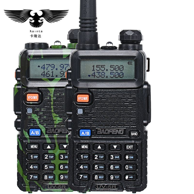 BAOFENG UV- 5R Walkie Talkie UHF VHF Dual Band CB Radio uv5r VOX Flashlight Dual Display FM Transceiver With PIN PTT Speaker Mic