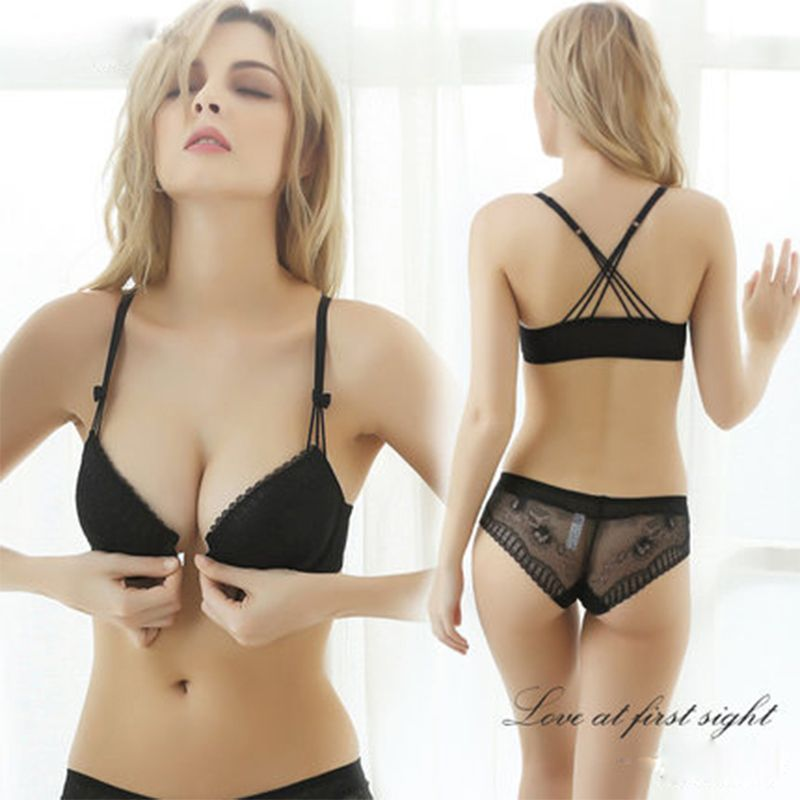 Femal Intimates Front Closure Sexy Lingerie Set Gathering VS Underwear Women Lace Push Up Bra Set ABC Cup Padded Bra And Panty