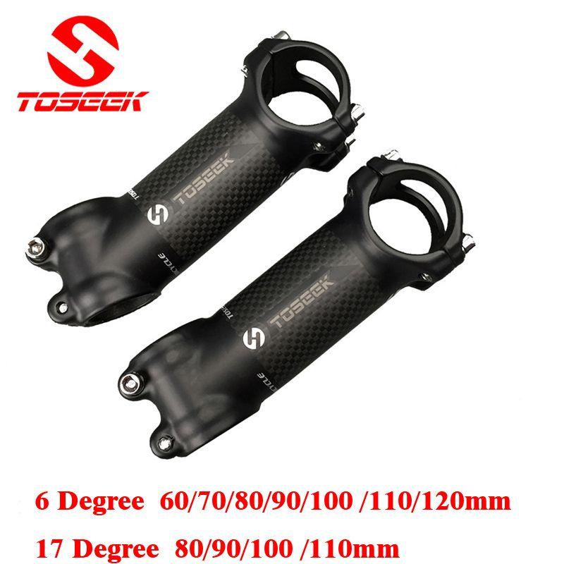 En Fiber De Carbone en aluminium Tige De Vélo Route VTT Tige VTT 6/17 Degrés 31.8*60/70/80/90/100/110/120mm Bicicleta Pièces