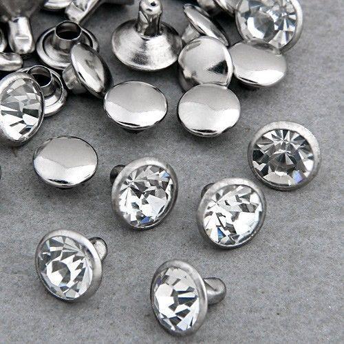 100 ensembles 6mm CZ cristaux strass Rivets rapide argent clou points goujons bricolage livraison gratuite