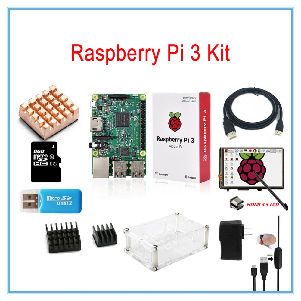 Raspberry Pi 3 Kit / 3.5 inch HDMI LCD Touch Screen +Transparent Case+2.5A Power Supply +8GB TF Card+Heatsinks+HDMI Cable