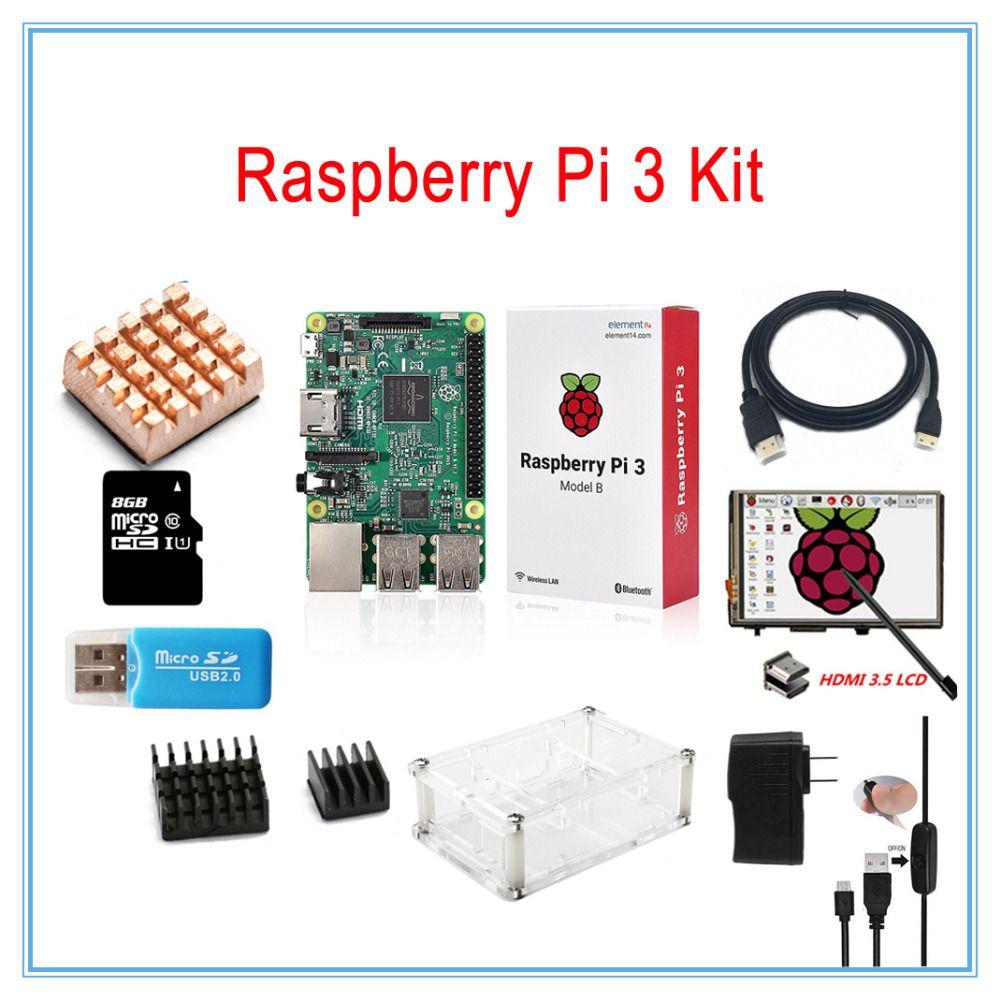 Raspberry Pi 3 Kit/3.5 pouce HDMI LCD Écran Tactile + Transparent Cas + 2.5A Alimentation + 8 GB TF Carte + Dissipateurs + HDMI Câble
