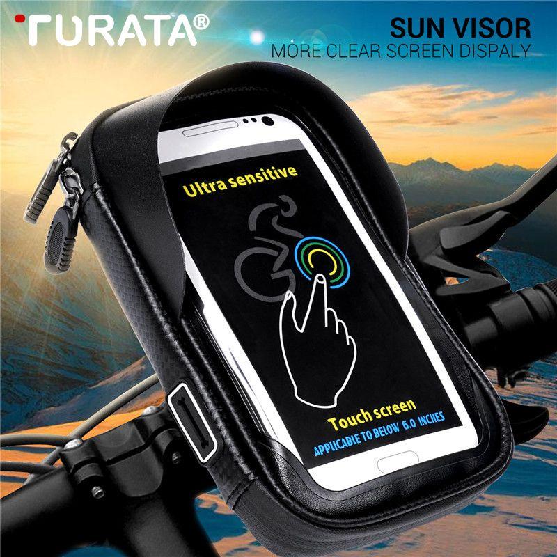Turata 6.0 pouces étanche vélo vélo Mobile support pour téléphone support moto guidon sac de montage pour iphone X Samsung LG Huawei