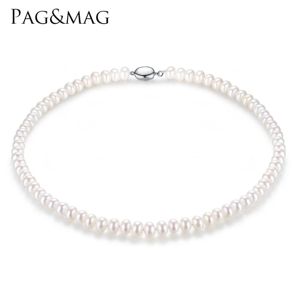 PAG et MAG Marque 7-8mm Naturel D'eau Douce Collier de Perle Simple Collier pour Femmes Haute Luminosité Perle Perlée tour de cou En Gros