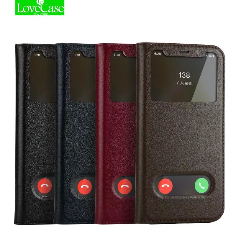 LoveCase Phone Case for iPhone X Cover Business Vintage View Window Leather Shockproof Flip Wallet Case for iPhone X 10 cover