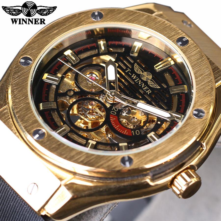 Winner 3 Dial Golden Metal Series Men Watches Top Brand Luxury Automatic Watch Luxury Brand <font><b>Mechanical</b></font> Skeleton Male Wrist Watch