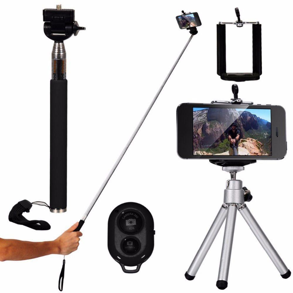 10 dans 1 Mini Trépied Support de Téléphone 8X/12X Large-Angle Macro Fisheye Lentille Bluetooth Télécommande Téléobjectif lentille Selfie Bâton Kit