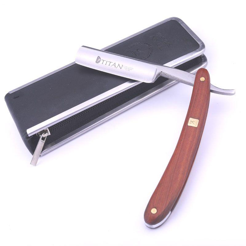 Titan manche en bois hommes outils de rasage rasoir droit rasage livraison gratuite