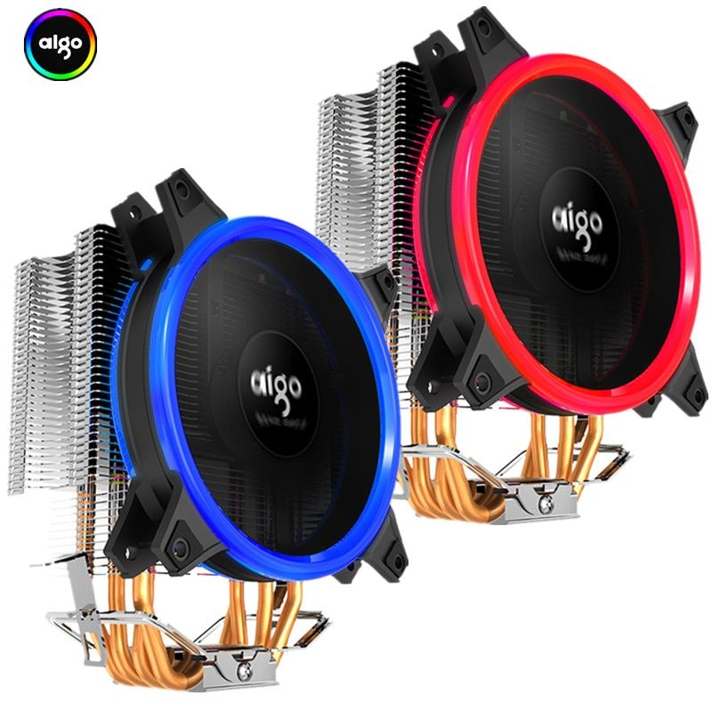 Aigo Icy E3 CPU Cooler TDP 250W 4 Heatpipes Dual PWM 4pin 120mm Double Ring LED Fan Radiator Cooler for LGA 775/115x/AM2/AM3/AM4