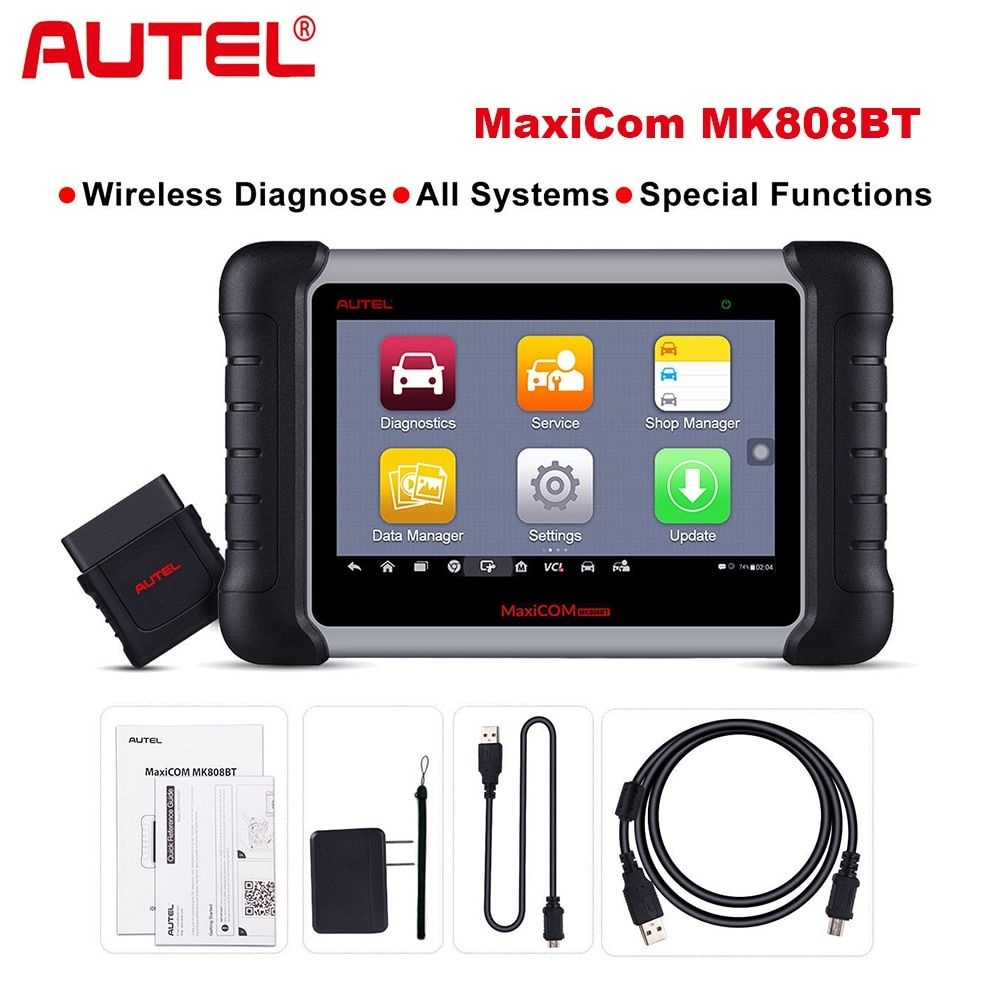 2018 Newest Autel MaxiCOM MK808 BT Wireless Car Diagnostic Tool OBD2 Diagnosis Functions of EPB/IMMO/DPF/SAS/TMPS same as MX808