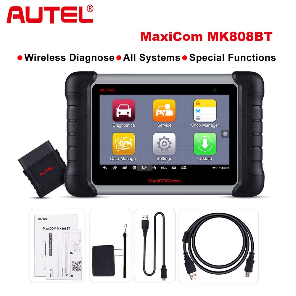2018 Newest Autel MaxiCOM MK808 BT Wireless Car Diagnostic Tool OBD2 Diagnosis Functions of EPB/IMMO/DPF/SAS/TMPS same as MX808