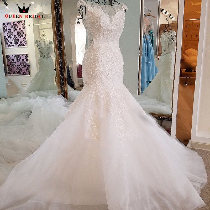 Sexy Mermaid Wedding Dresses Crystal Beading Sequins Lace Long Formal Bridal Wedding Gown Vestidos De Noiva Bridal Dress BW08