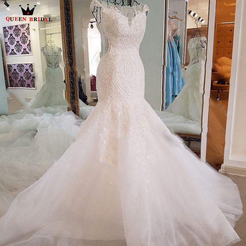 Sexy Mermaid Wedding Dresses Crystal Beading Sequins Lace Long Formal Bridal Wedding Gown Vestidos De Noiva Bridal Dress BW08