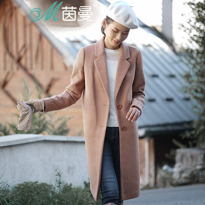 INMAN Women'S Winter New Casual <font><b>Style</b></font> Single Button Woolen Coat Long Overcoat
