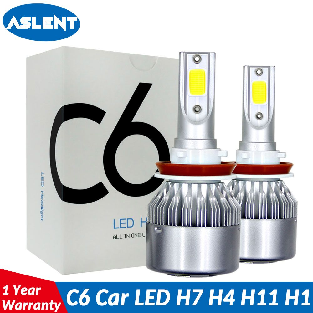 Aslent C6 led Car Headlight H7 LED H4 Bulb HB2 H1 H3 H11 HB3 9005 HB4 9006 9004 9007 9012 72W 8000lm Auto Lamps Fog Lights 12V