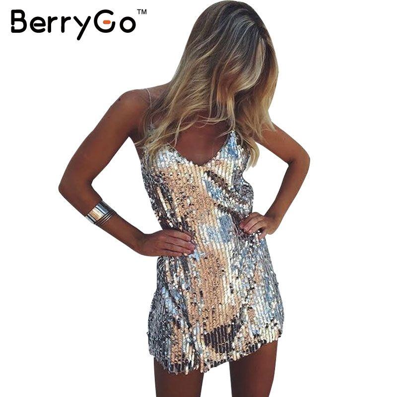Berrygo sexy Silver sequin mujeres vestido Deep V cuello sin mangas corto vestido de noche elegante vestidos de fiesta casual vestidos