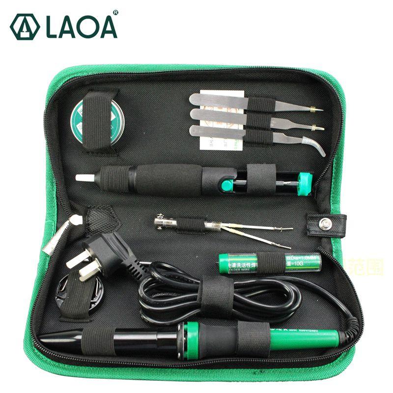 LAOA 30W 220 V/110 V ensemble de fer à souder électrique Kit de fer électronique outils de réparation pistolet à souder avec pâte à souder pince à épiler fil d'étain